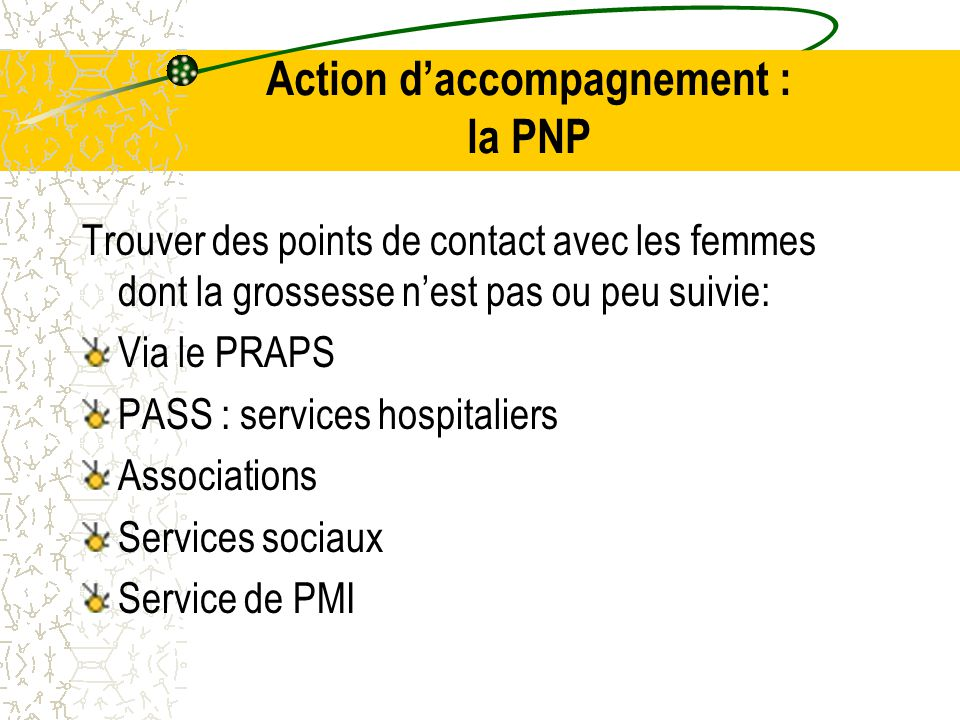 Trouver des points de contact avec les femmes dont la grossesse n'est pas ou peu suivie: Via le PRAPS PASS : services hospitaliers Associations Services sociaux Service de PMI Action d'accompagnement : la PNP