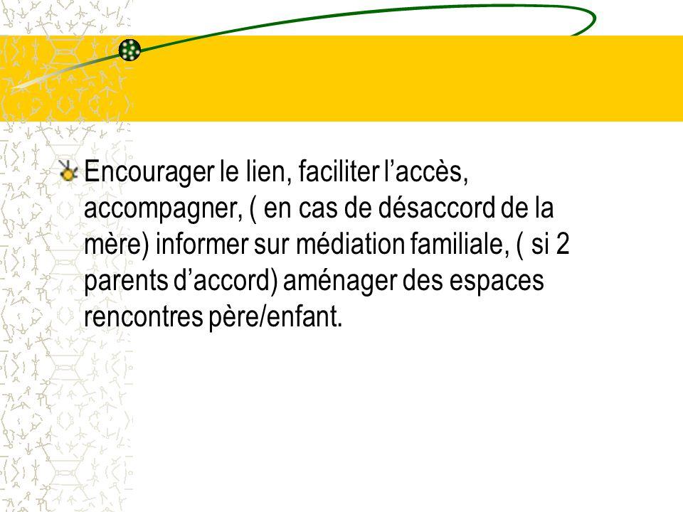 Encourager le lien, faciliter l'accès, accompagner, ( en cas de désaccord de la mère) informer sur médiation familiale, ( si 2 parents d'accord) aménager des espaces rencontres père/enfant.
