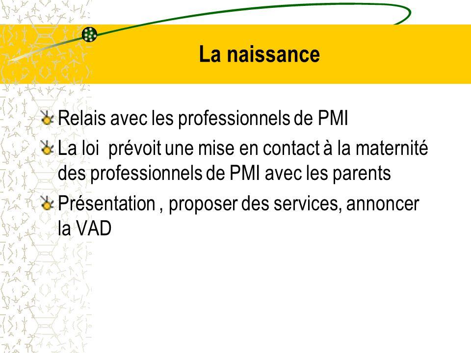 La naissance Relais avec les professionnels de PMI La loi prévoit une mise en contact à la maternité des professionnels de PMI avec les parents Présentation, proposer des services, annoncer la VAD