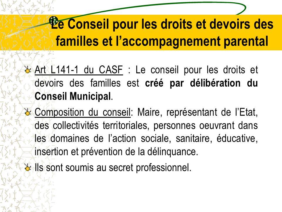 Le Conseil pour les droits et devoirs des familles et l'accompagnement parental Art L141-1 du CASF : Le conseil pour les droits et devoirs des familles est créé par délibération du Conseil Municipal.