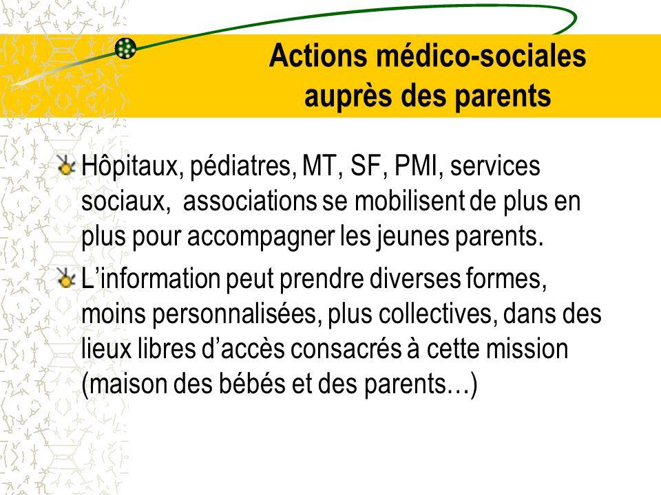 Actions médico-sociales auprès des parents Hôpitaux, pédiatres, MT, SF, PMI, services sociaux, associations se mobilisent de plus en plus pour accompagner les jeunes parents.