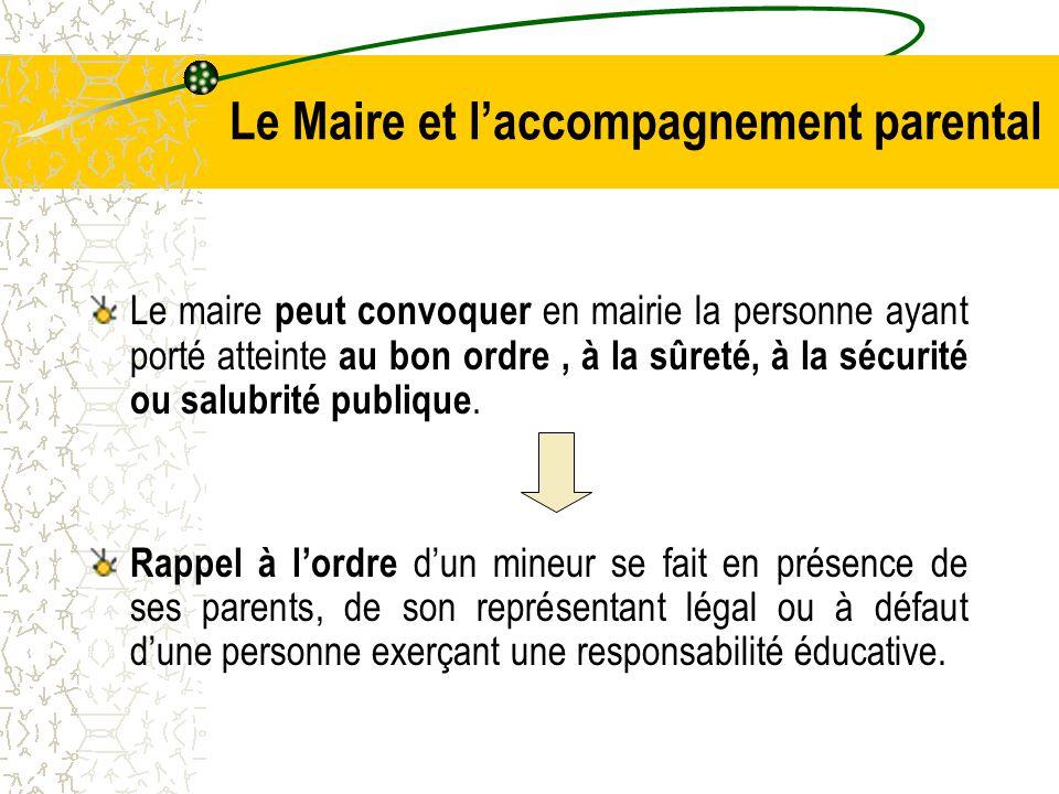 Le Maire et l'accompagnement parental Le maire peut convoquer en mairie la personne ayant porté atteinte au bon ordre, à la sûreté, à la sécurité ou salubrité publique.