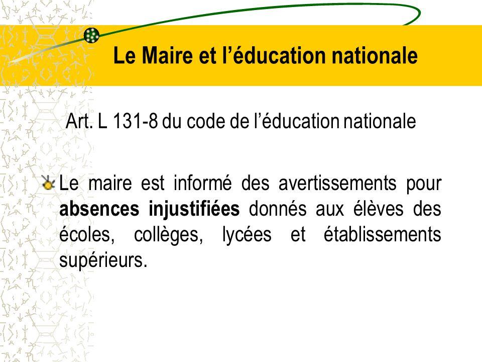Le Maire et l'éducation nationale Art.