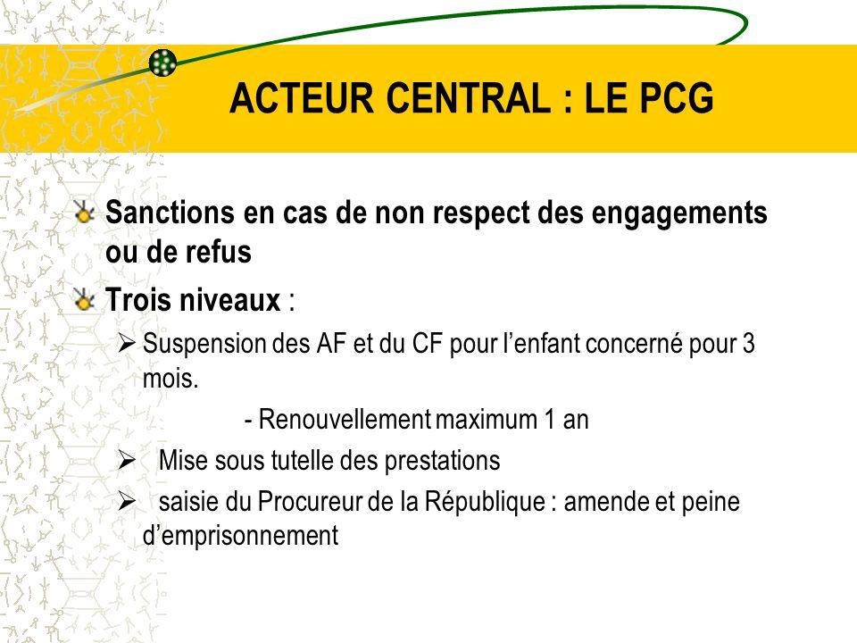ACTEUR CENTRAL : LE PCG Sanctions en cas de non respect des engagements ou de refus Trois niveaux :  Suspension des AF et du CF pour l'enfant concerné pour 3 mois.