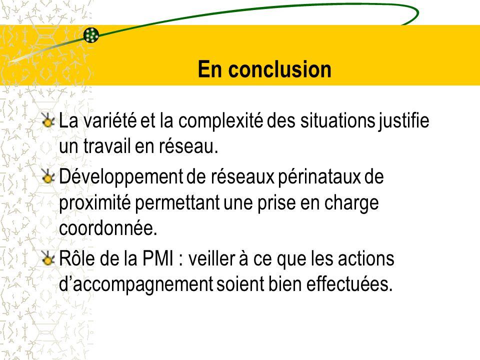 En conclusion La variété et la complexité des situations justifie un travail en réseau.