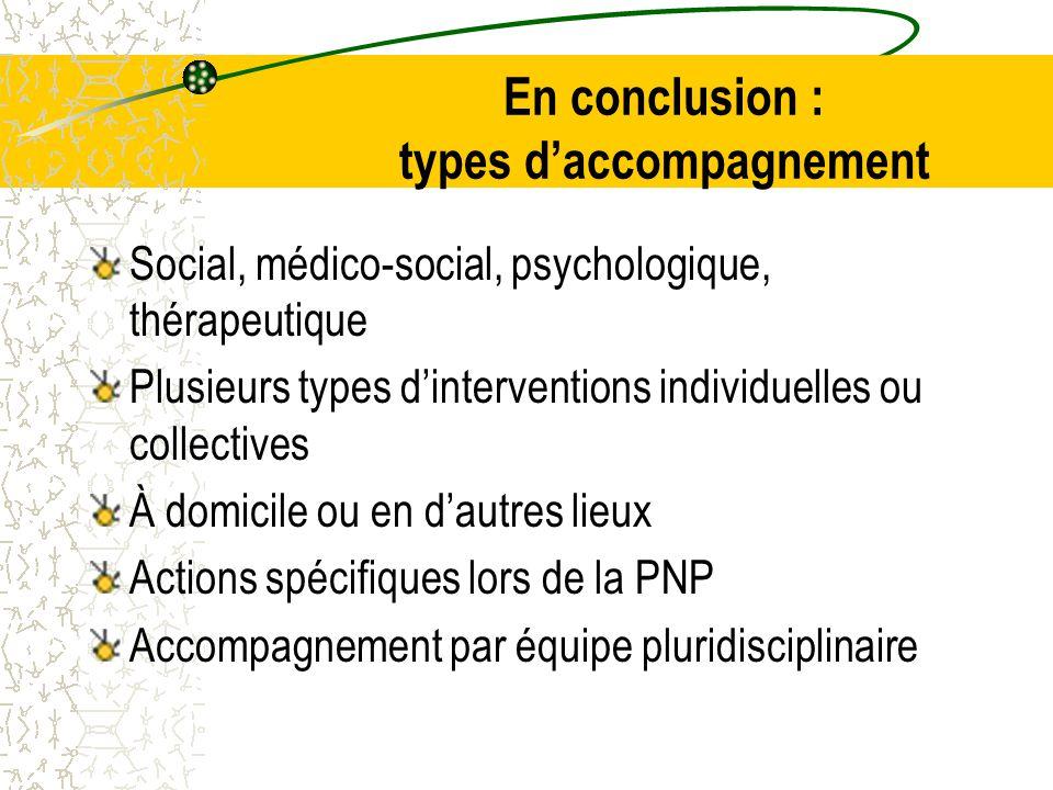 En conclusion : types d'accompagnement Social, médico-social, psychologique, thérapeutique Plusieurs types d'interventions individuelles ou collectives À domicile ou en d'autres lieux Actions spécifiques lors de la PNP Accompagnement par équipe pluridisciplinaire