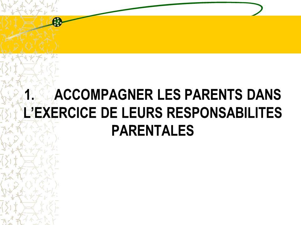 1.ACCOMPAGNER LES PARENTS DANS L'EXERCICE DE LEURS RESPONSABILITES PARENTALES