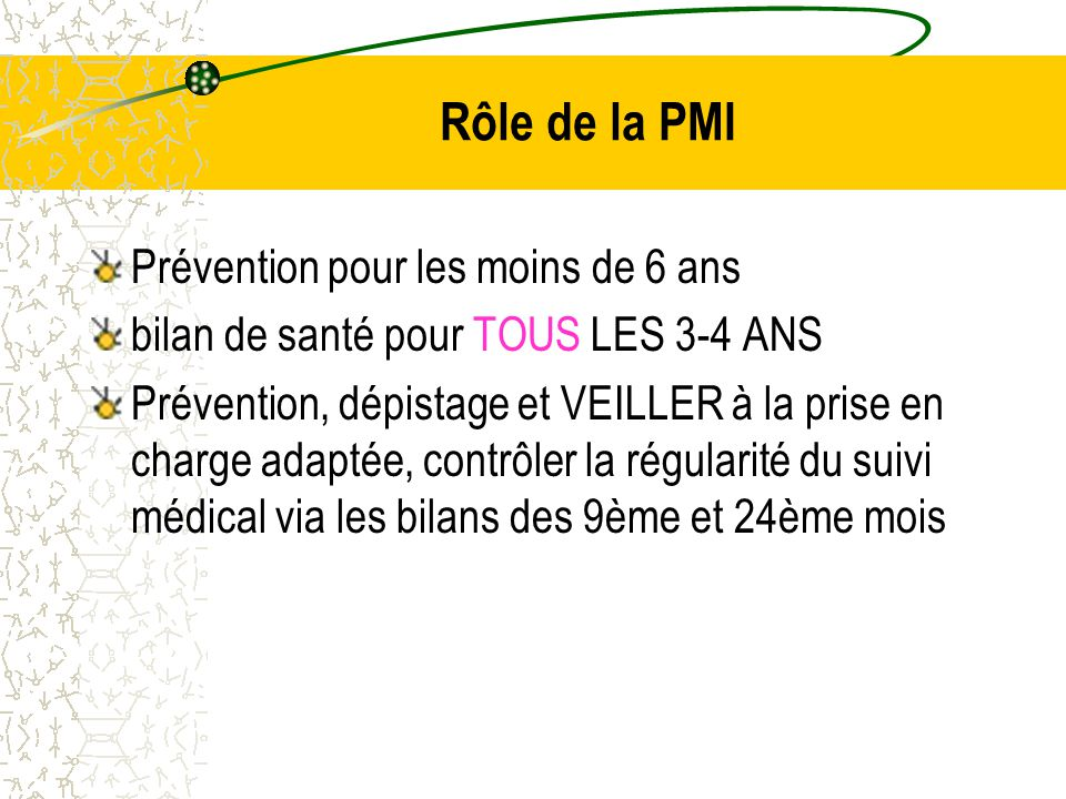 Rôle de la PMI Prévention pour les moins de 6 ans bilan de santé pour TOUS LES 3-4 ANS Prévention, dépistage et VEILLER à la prise en charge adaptée, contrôler la régularité du suivi médical via les bilans des 9ème et 24ème mois