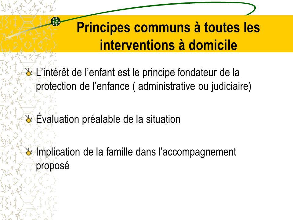 Principes communs à toutes les interventions à domicile L'intérêt de l'enfant est le principe fondateur de la protection de l'enfance ( administrative ou judiciaire) Évaluation préalable de la situation Implication de la famille dans l'accompagnement proposé