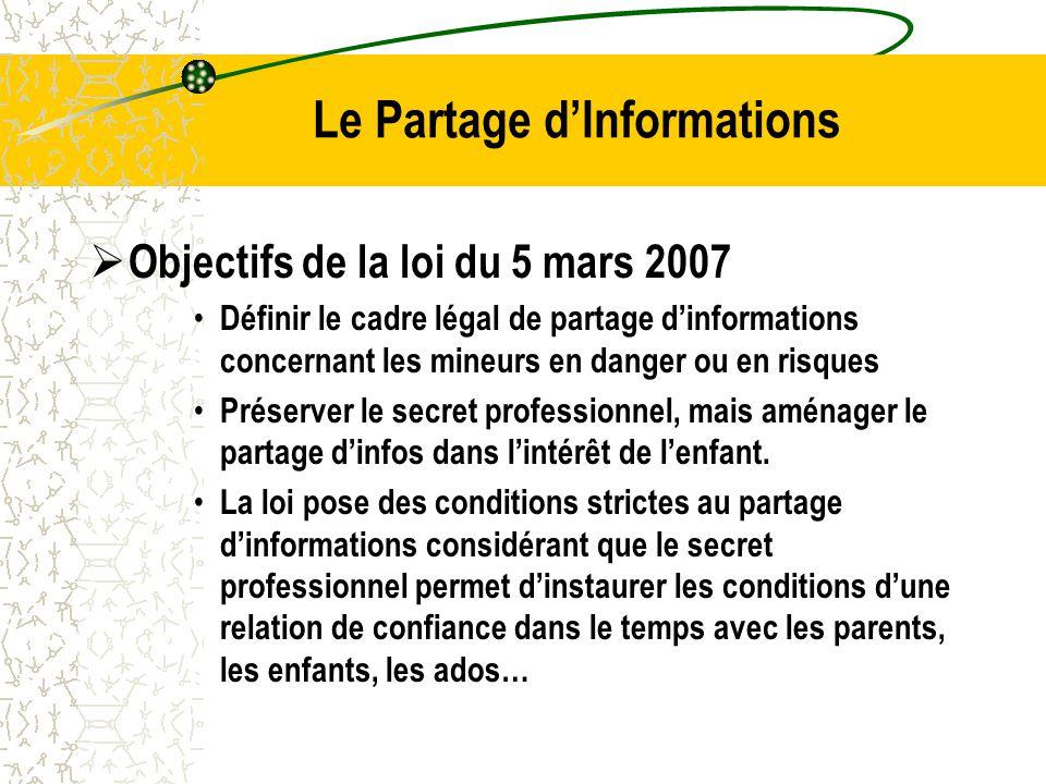 Le Partage d'Informations  Objectifs de la loi du 5 mars 2007 Définir le cadre légal de partage d'informations concernant les mineurs en danger ou en risques Préserver le secret professionnel, mais aménager le partage d'infos dans l'intérêt de l'enfant.