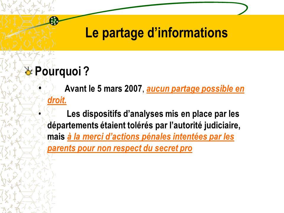 Le partage d'informations Pourquoi .Avant le 5 mars 2007, aucun partage possible en droit.