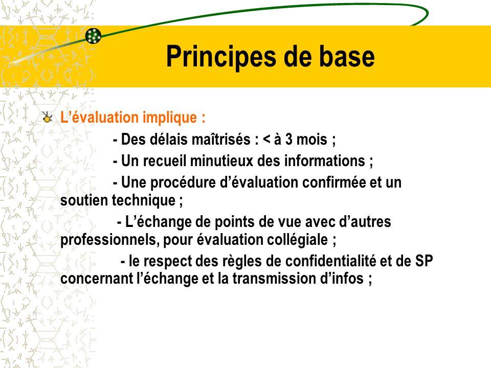 Principes de base L'évaluation implique : - Des délais maîtrisés : < à 3 mois ; - Un recueil minutieux des informations ; - Une procédure d'évaluation confirmée et un soutien technique ; - L'échange de points de vue avec d'autres professionnels, pour évaluation collégiale ; - le respect des règles de confidentialité et de SP concernant l'échange et la transmission d'infos ;