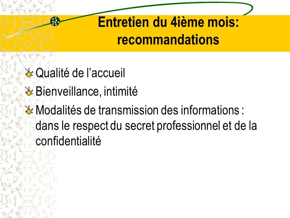 Entretien du 4ième mois: recommandations Qualité de l'accueil Bienveillance, intimité Modalités de transmission des informations : dans le respect du secret professionnel et de la confidentialité