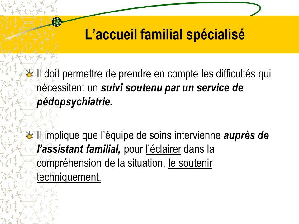 L'accueil familial spécialisé Il doit permettre de prendre en compte les difficultés qui nécessitent un suivi soutenu par un service de pédopsychiatrie.