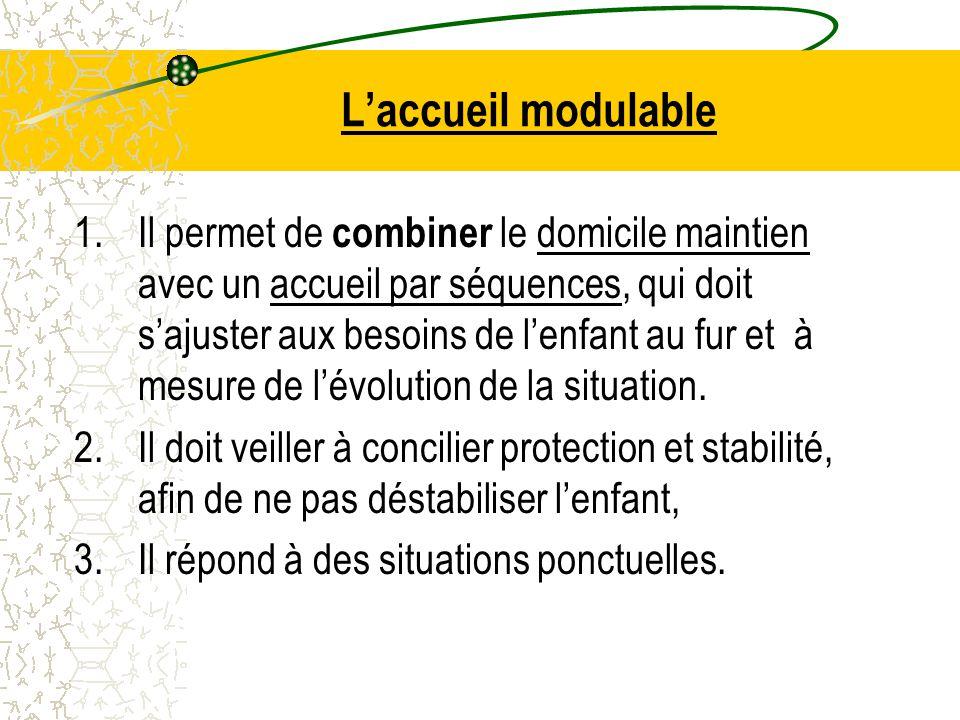 L'accueil modulable 1.Il permet de combiner le domicile maintien avec un accueil par séquences, qui doit s'ajuster aux besoins de l'enfant au fur et à mesure de l'évolution de la situation.