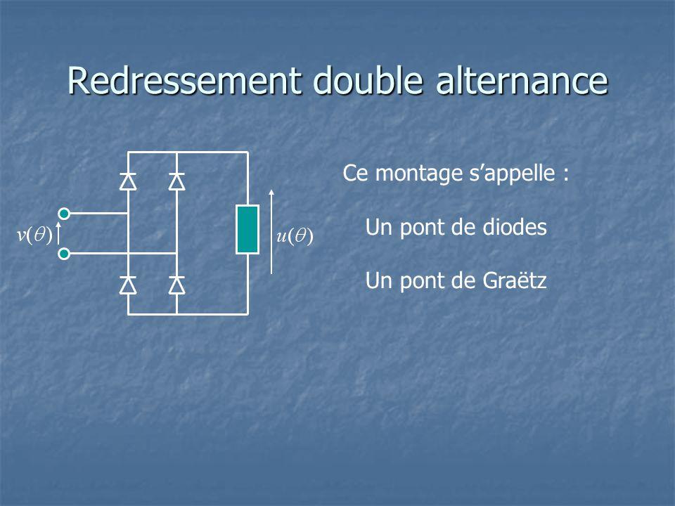 Redressement double alternance Ce montage s'appelle : Un pont de diodes Un pont de Graëtz