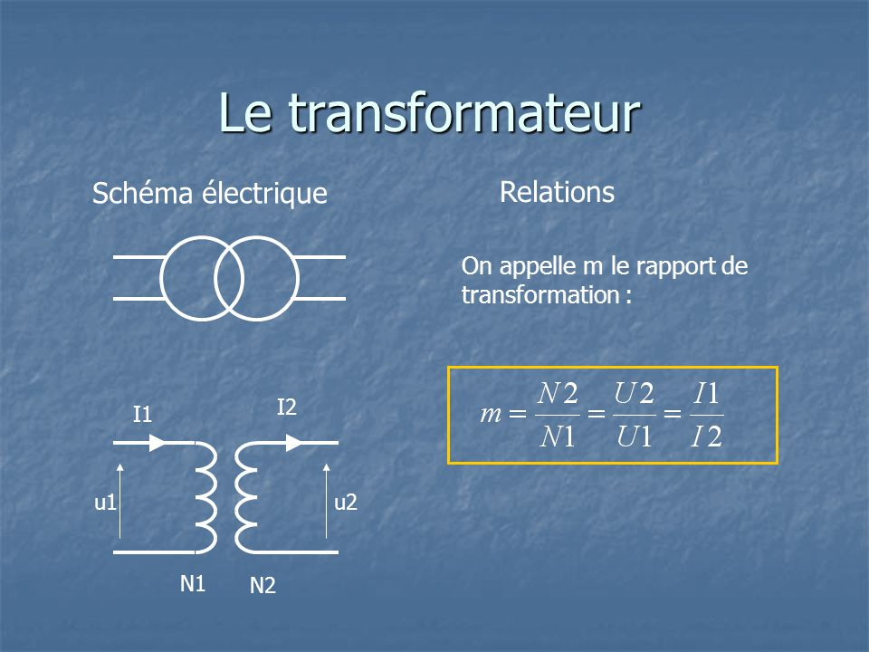 Le transformateur Schéma électrique u2u1 I1 I2 N1 N2 Relations On appelle m le rapport de transformation :