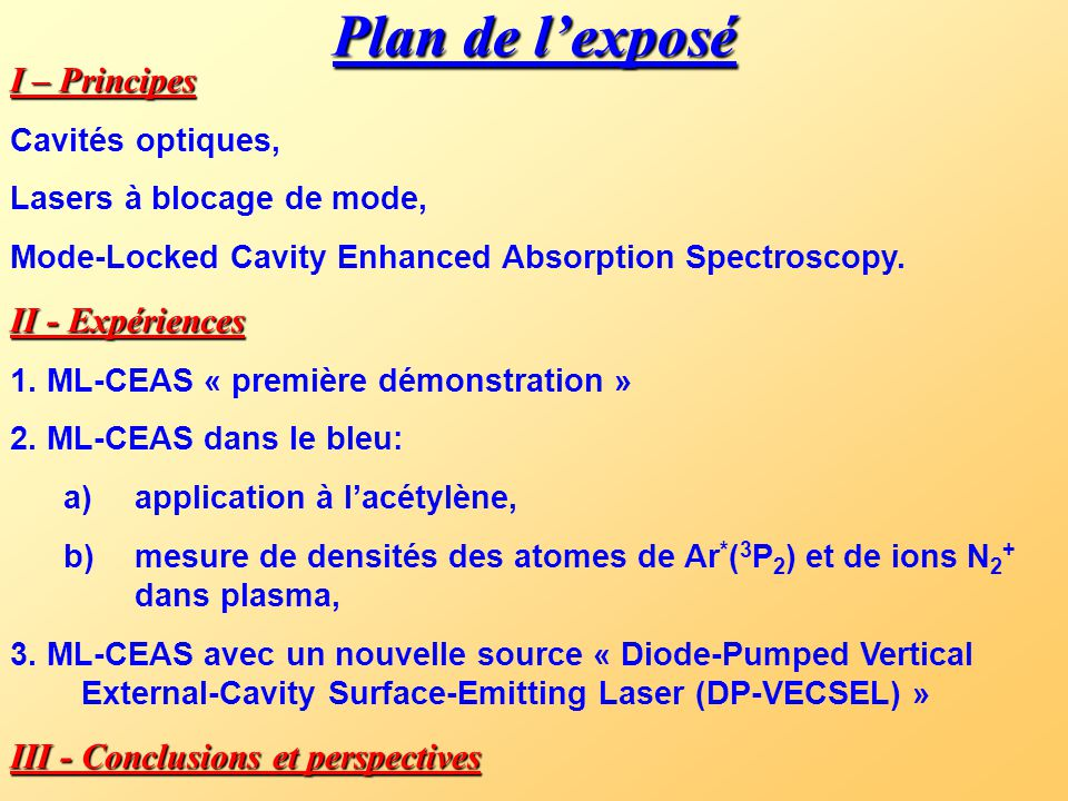 Plan de l'exposé I – Principes Cavités optiques, Lasers à blocage de mode, Mode-Locked Cavity Enhanced Absorption Spectroscopy.