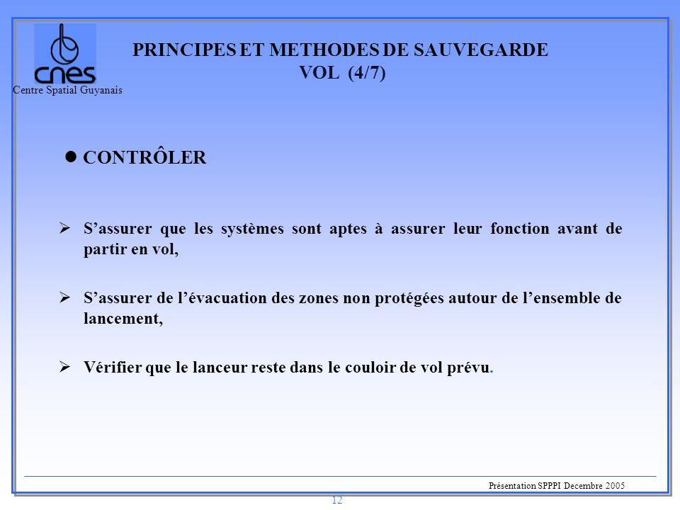 Centre Spatial Guyanais Présentation SPPPI Decembre 2005 12 PRINCIPES ET METHODES DE SAUVEGARDE VOL (4/7)  S'assurer que les systèmes sont aptes à as
