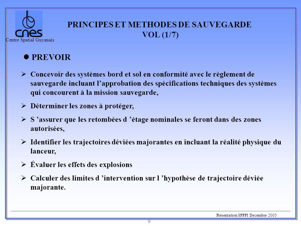 Centre Spatial Guyanais Présentation SPPPI Decembre 2005 9 PRINCIPES ET METHODES DE SAUVEGARDE VOL (1/7) PREVOIR  Concevoir des systèmes bord et sol