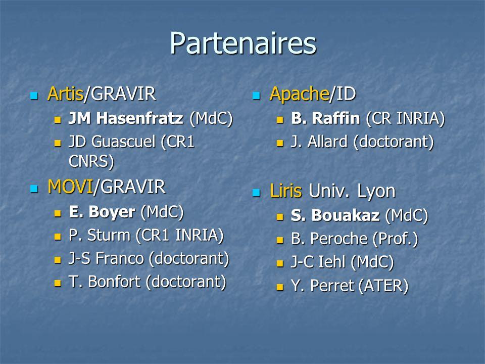Partenaires Artis/GRAVIR Artis/GRAVIR JM Hasenfratz (MdC) JM Hasenfratz (MdC) JD Guascuel (CR1 CNRS) JD Guascuel (CR1 CNRS) MOVI/GRAVIR MOVI/GRAVIR E.