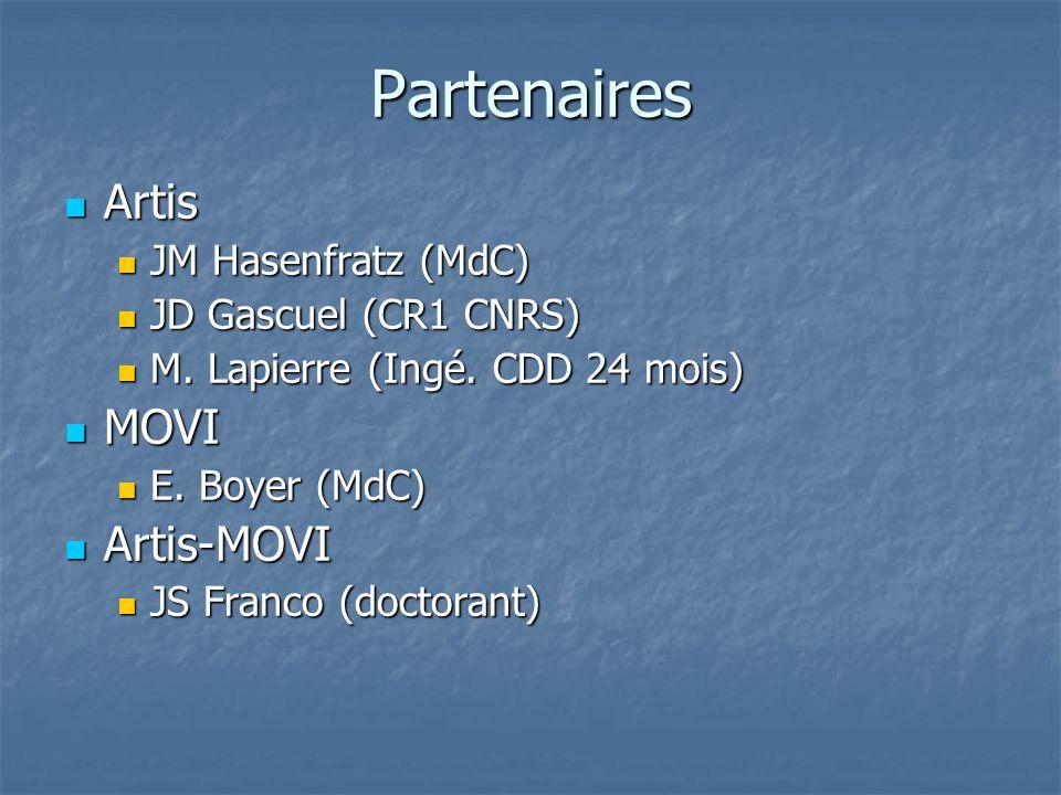Partenaires Artis Artis JM Hasenfratz (MdC) JM Hasenfratz (MdC) JD Gascuel (CR1 CNRS) JD Gascuel (CR1 CNRS) M.