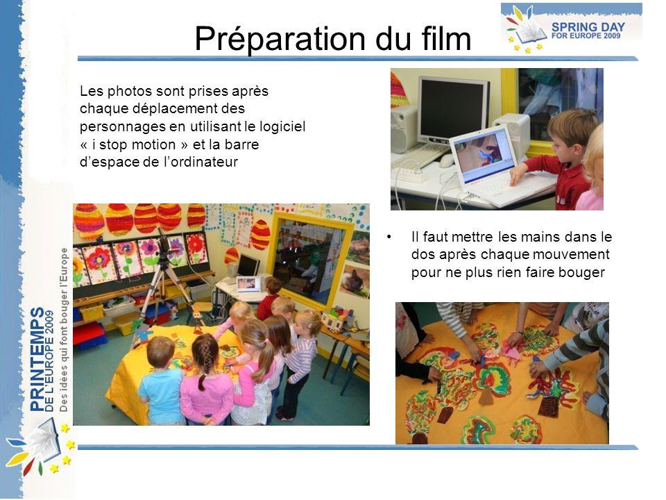 Préparation du film Les photos sont prises après chaque déplacement des personnages en utilisant le logiciel « i stop motion » et la barre d'espace de l'ordinateur Il faut mettre les mains dans le dos après chaque mouvement pour ne plus rien faire bouger
