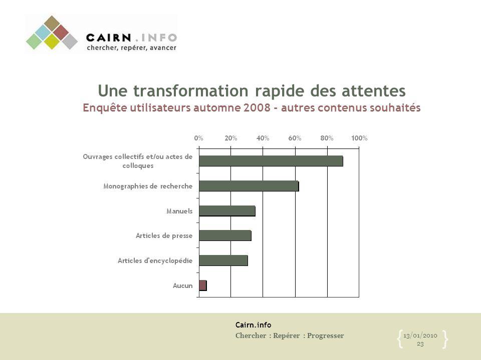 Cairn.info Chercher : Repérer : Progresser 13/01/2010 23 { } Une transformation rapide des attentes Enquête utilisateurs automne 2008 - autres contenu