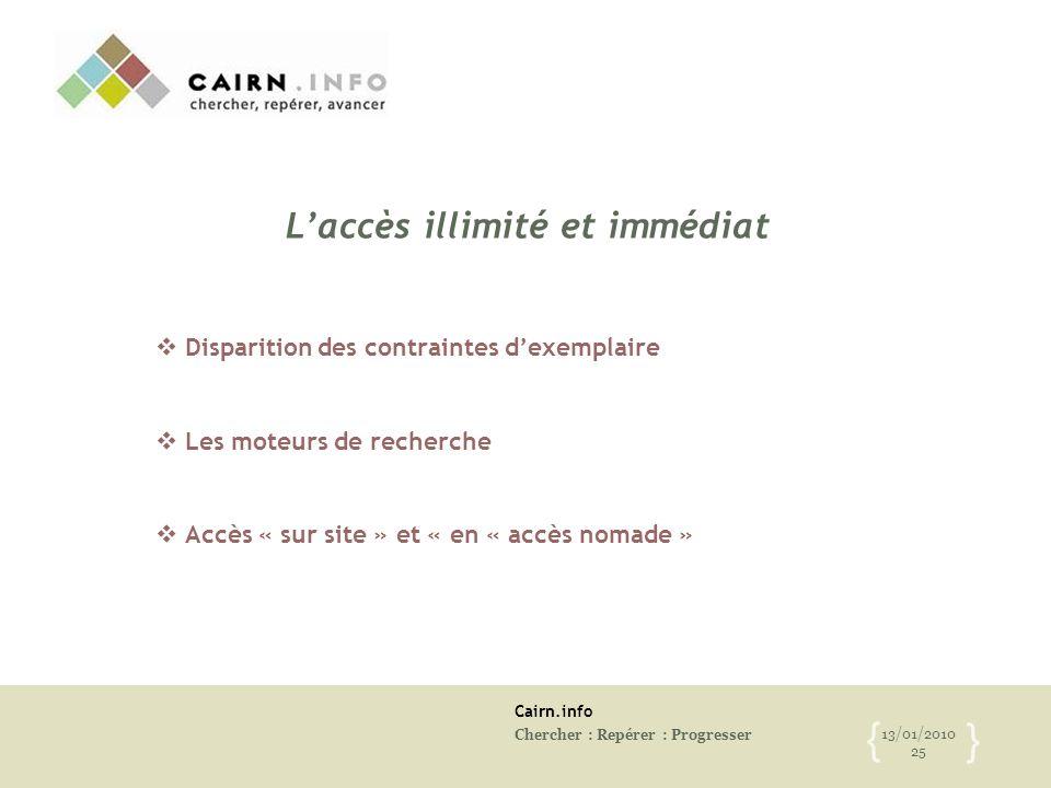 Cairn.info Chercher : Repérer : Progresser 13/01/2010 25 { } L'accès illimité et immédiat  Disparition des contraintes d'exemplaire  Les moteurs de