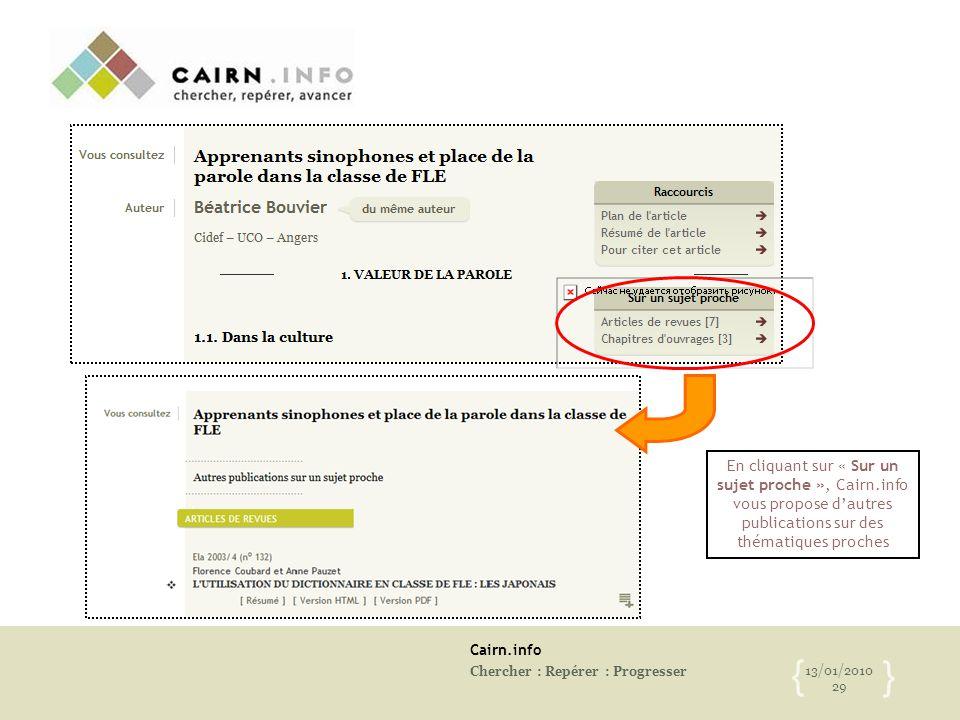 Cairn.info Chercher : Repérer : Progresser 13/01/2010 29 { } En cliquant sur « Sur un sujet proche », Cairn.info vous propose d'autres publications su