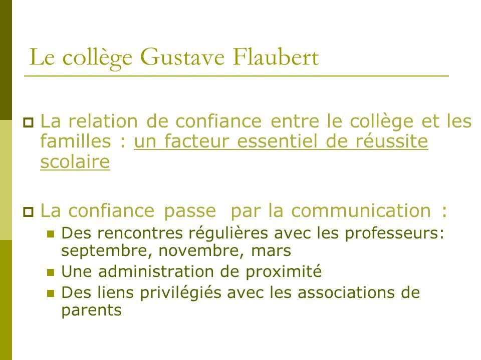 Le collège Gustave Flaubert  La relation de confiance entre le collège et les familles : un facteur essentiel de réussite scolaire  La confiance pas