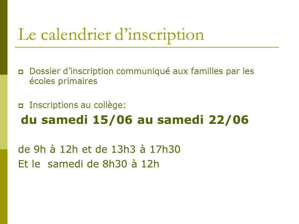 Le calendrier d'inscription  Dossier d'inscription communiqué aux familles par les écoles primaires  Inscriptions au collège: du samedi 15/06 au sam