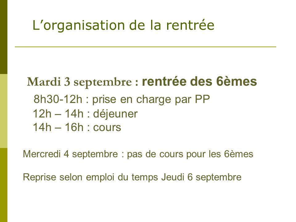 Mardi 3 septembre : rentrée des 6èmes 8h30-12h : prise en charge par PP 12h – 14h : déjeuner 14h – 16h : cours Mercredi 4 septembre : pas de cours pou