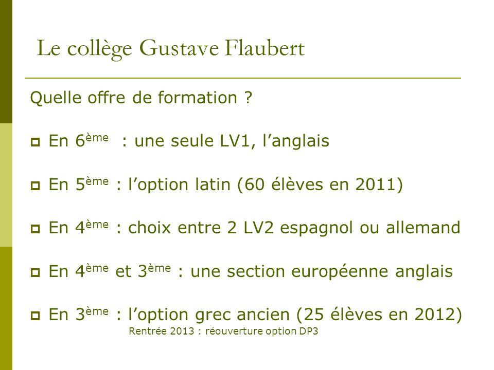 Le collège Gustave Flaubert Quelle offre de formation ?  En 6 ème : une seule LV1, l'anglais  En 5 ème : l'option latin (60 élèves en 2011)  En 4 è