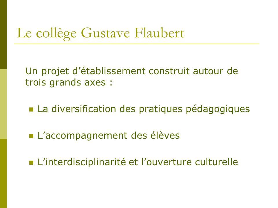 Le collège Gustave Flaubert Un projet d'établissement construit autour de trois grands axes : La diversification des pratiques pédagogiques L'accompag