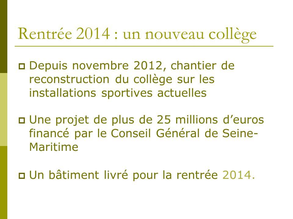Rentrée 2014 : un nouveau collège  Depuis novembre 2012, chantier de reconstruction du collège sur les installations sportives actuelles  Une projet
