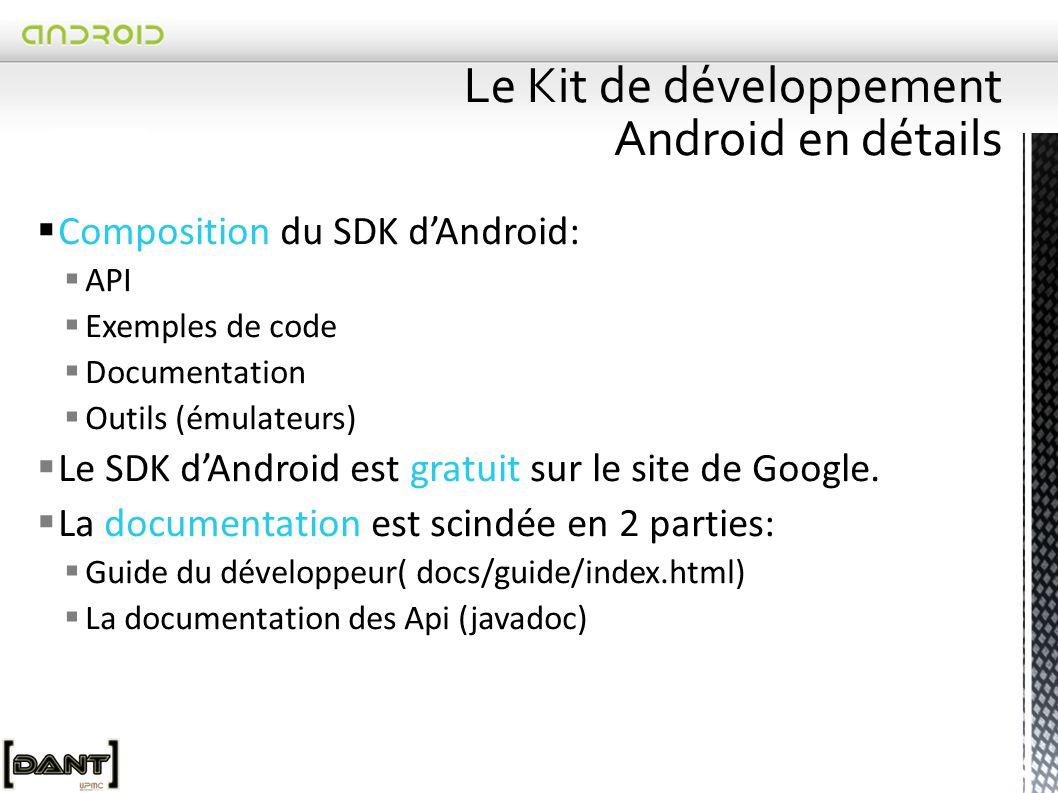  Composition du SDK d'Android:  API  Exemples de code  Documentation  Outils (émulateurs)  Le SDK d'Android est gratuit sur le site de Google.