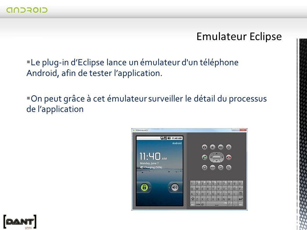  Le plug-in d'Eclipse lance un émulateur d un téléphone Android, afin de tester l'application.