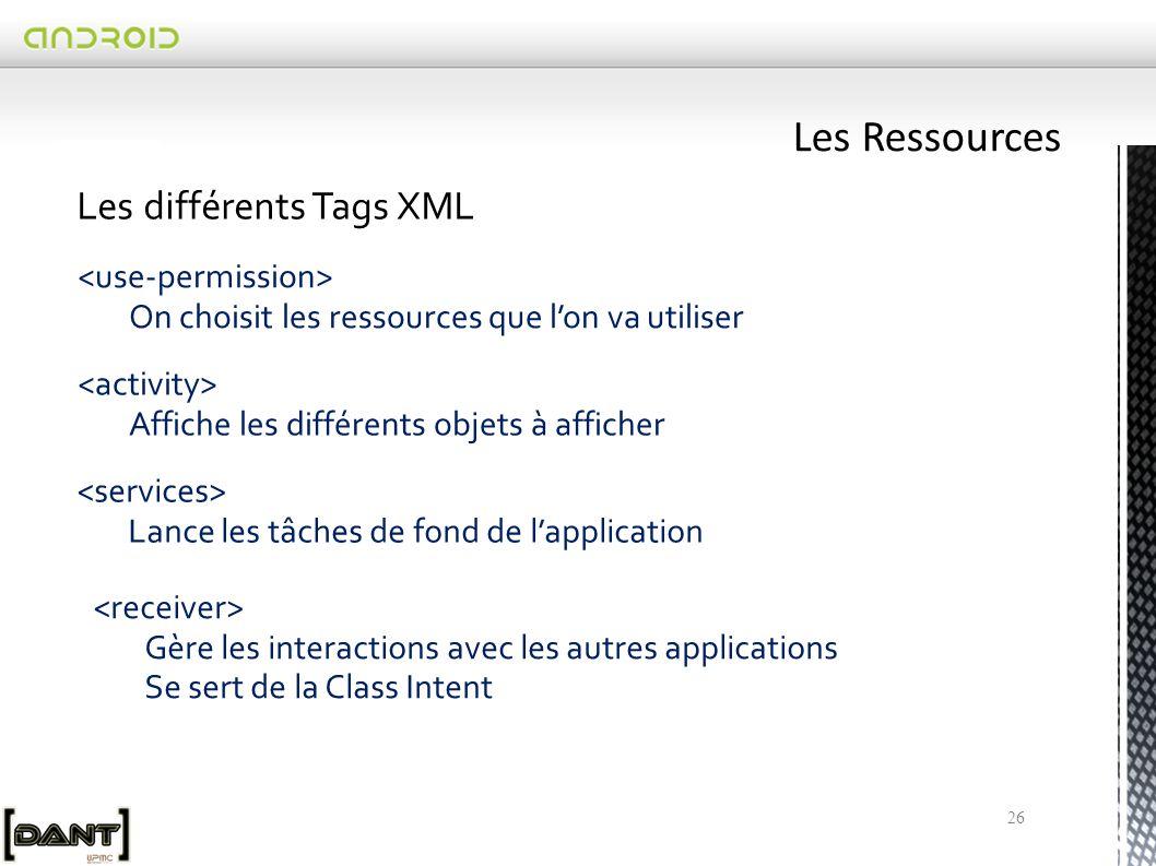 26 Les différents Tags XML On choisit les ressources que l'on va utiliser Affiche les différents objets à afficher Lance les tâches de fond de l'application Gère les interactions avec les autres applications Se sert de la Class Intent