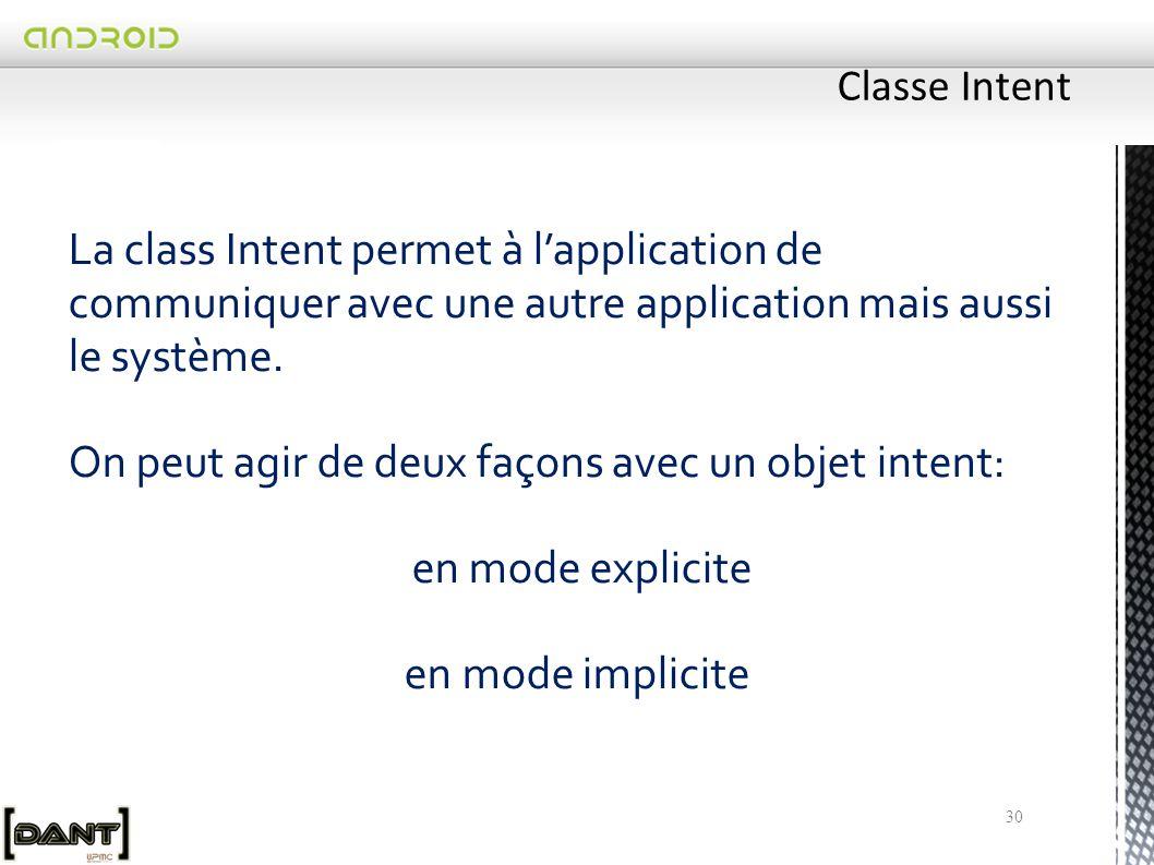 30 La class Intent permet à l'application de communiquer avec une autre application mais aussi le système.