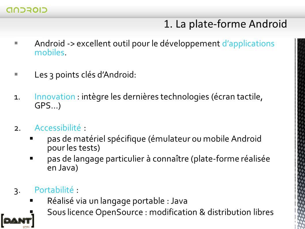 Avant l'arrivée d'Android l'iphone monopolisait le paysage des OS pour mobile (usage, applications)  La comparaison permanente à l'iphone(ergonomie, internet…) met en évidence la valeur du produit  Conséquence, coalition fin 2007 : Open Handset Alliance (47 acteurs dont Google)  Ne pas confondre Android avec Google Présentation de la plate-forme