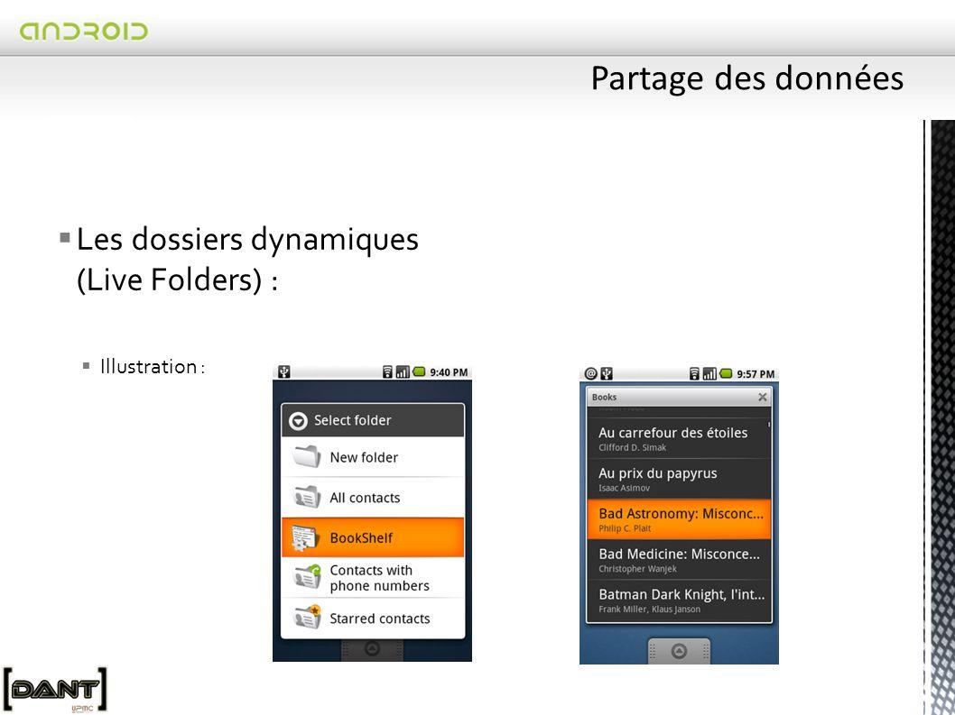  Les dossiers dynamiques (Live Folders) :  Illustration :