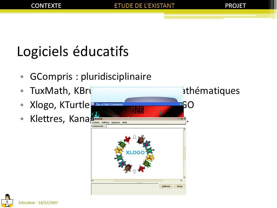 Logiciels éducatifs GCompris : pluridisciplinaire TuxMath, KBruch, KPercentage : mathématiques Xlogo, KTurtle : programmation LOGO Klettres, Kanagram : français, lettres.