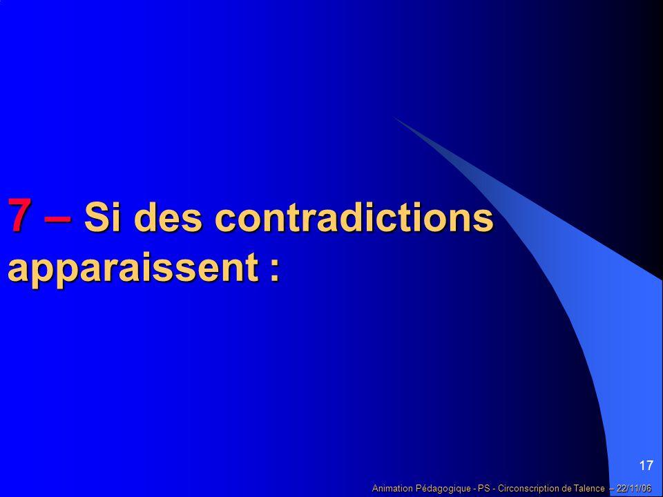 17 Animation Pédagogique - PS - Circonscription de Talence – 22/11/06 7 – Si des contradictions apparaissent :