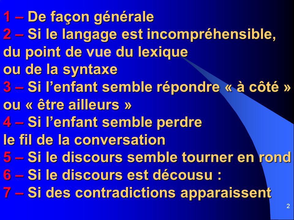 13 Animation Pédagogique - PS - Circonscription de Talence – 22/11/06 5 – Si le discours semble tourner en rond :