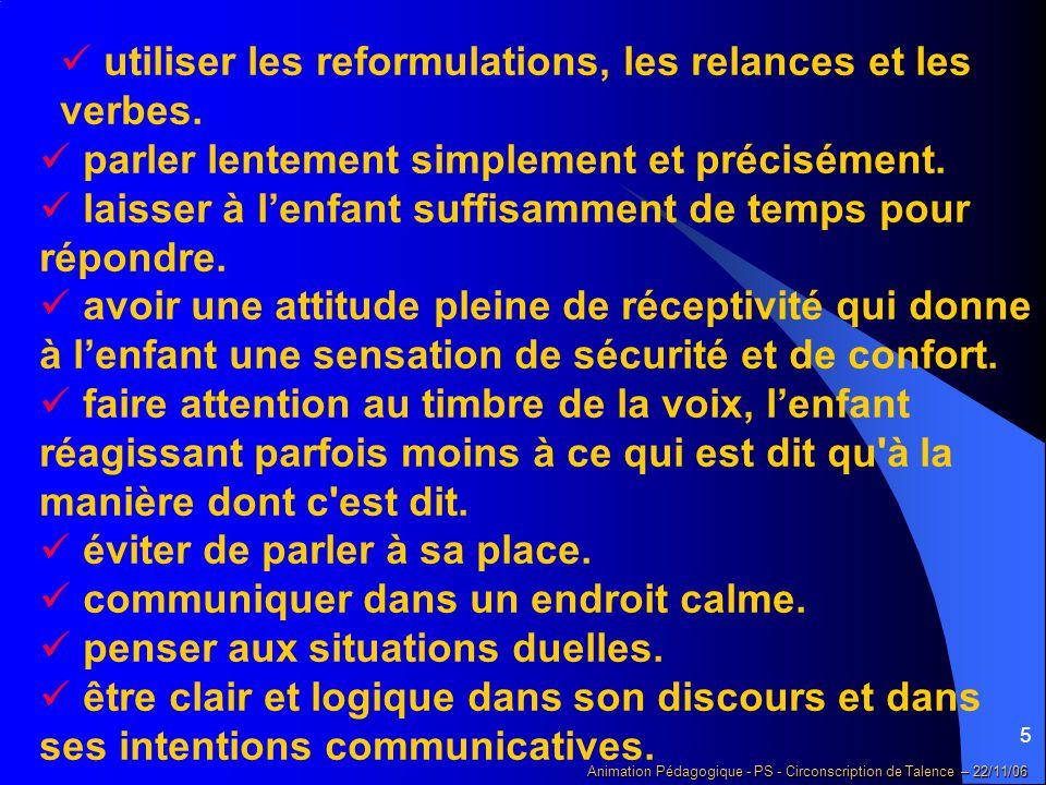5 Animation Pédagogique - PS - Circonscription de Talence – 22/11/06 utiliser les reformulations, les relances et les verbes.