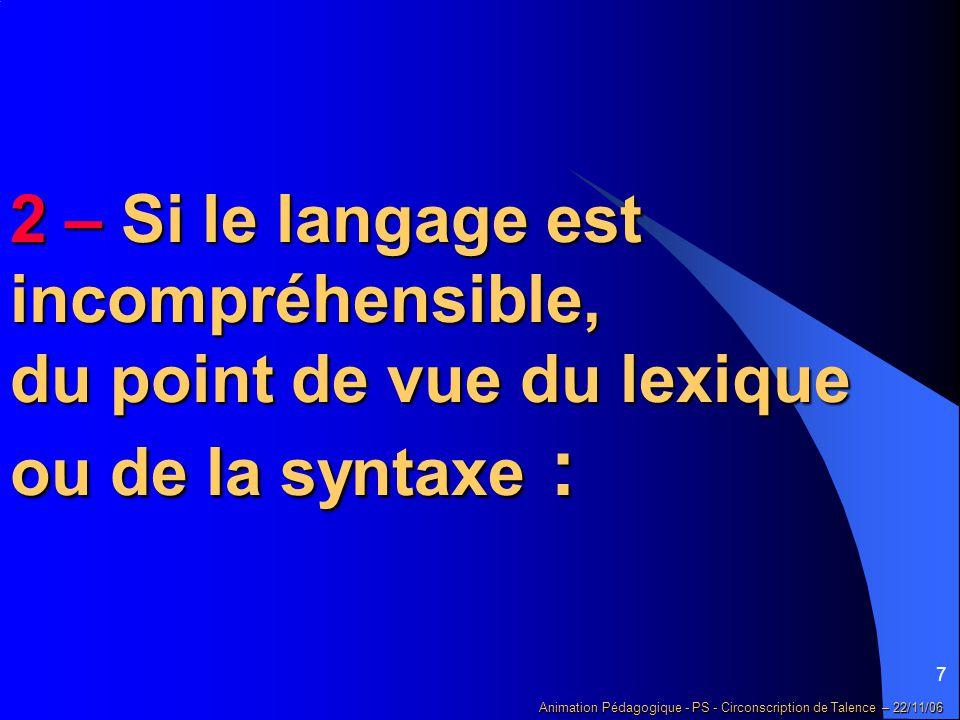 7 Animation Pédagogique - PS - Circonscription de Talence – 22/11/06 2 – Si le langage est incompréhensible, du point de vue du lexique ou de la syntaxe :