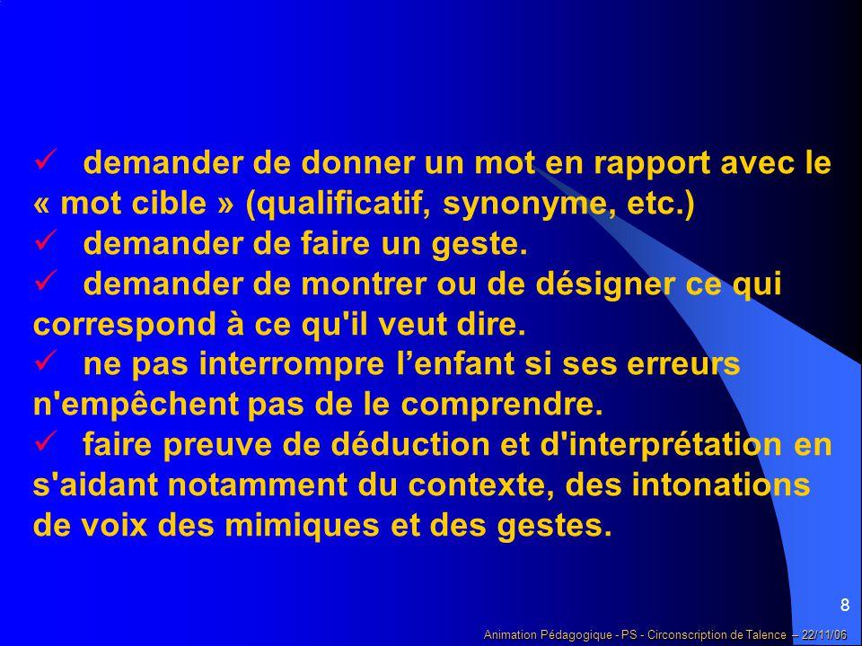 9 Animation Pédagogique - PS - Circonscription de Talence – 22/11/06 3 – Si l'enfant semble répondre « à côté » ou « être ailleurs »