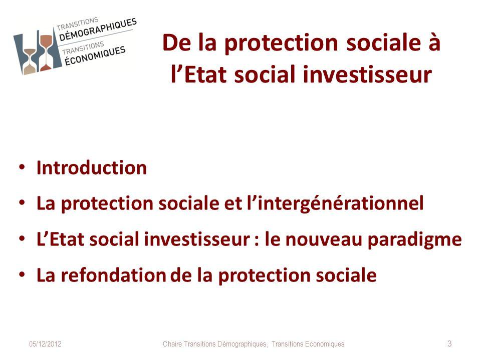 De la protection sociale à l'Etat social investisseur Introduction La protection sociale et l'intergénérationnel L'Etat social investisseur : le nouveau paradigme La refondation de la protection sociale 05/12/2012Chaire Transitions Démographiques, Transitions Economiques 3