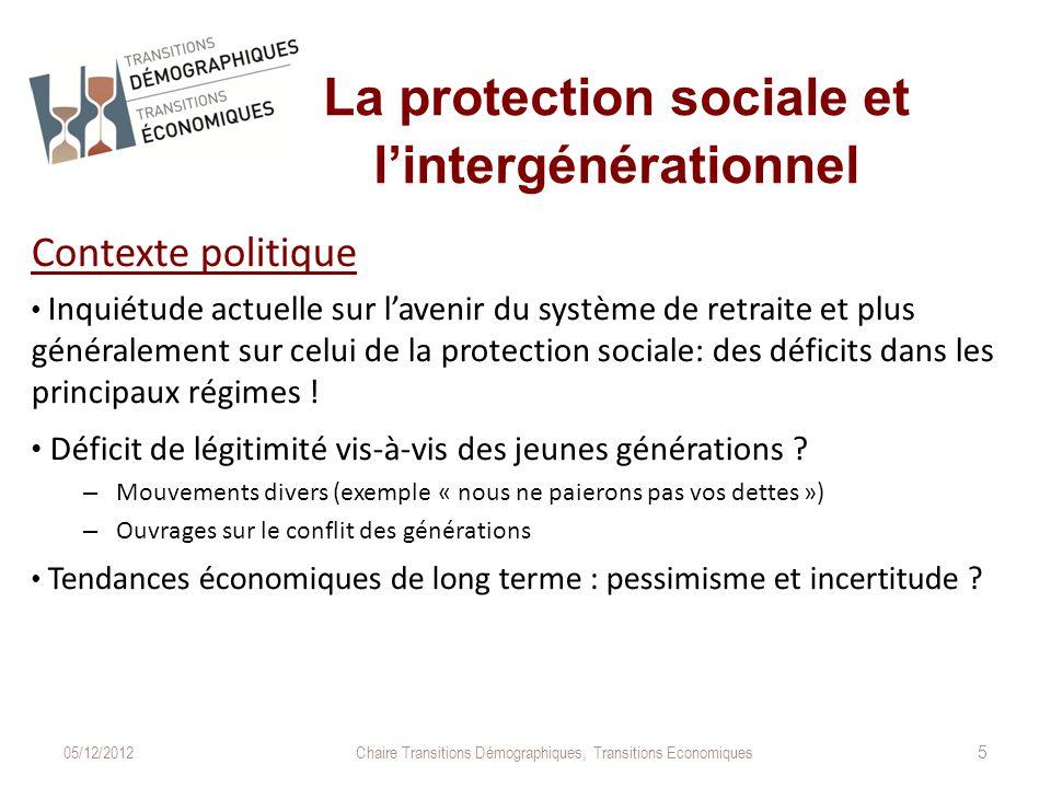La protection sociale et l'intergénérationnel Contexte politique Inquiétude actuelle sur l'avenir du système de retraite et plus généralement sur celui de la protection sociale: des déficits dans les principaux régimes .